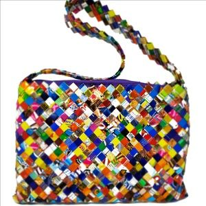 OOAK Multi-Color Patent Candy Wrapper Shoulder Bag